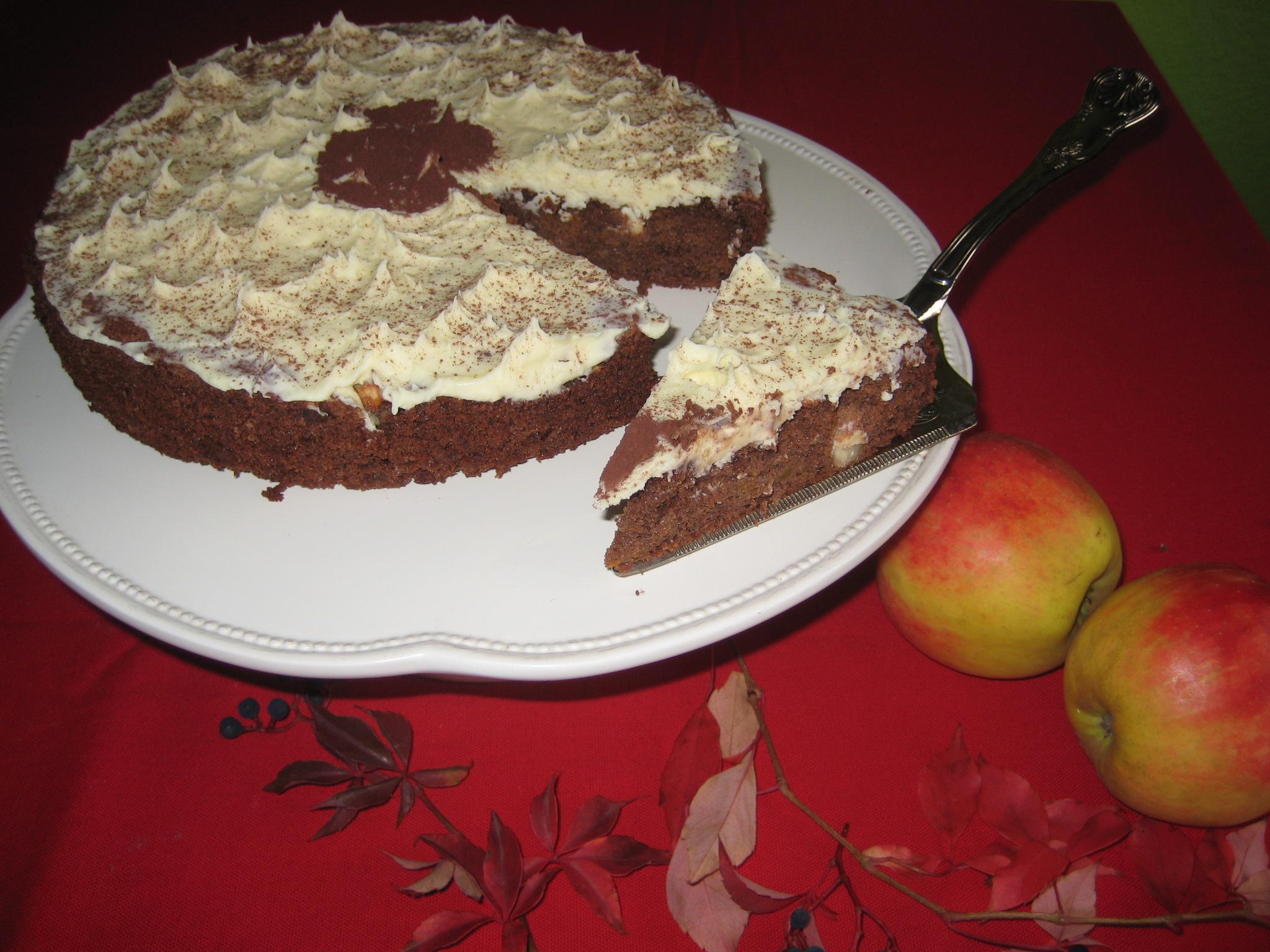 Marisol R. hat diesen leckeren Espressokuchen mit Kürbis und Schokoladenganache für uns.
