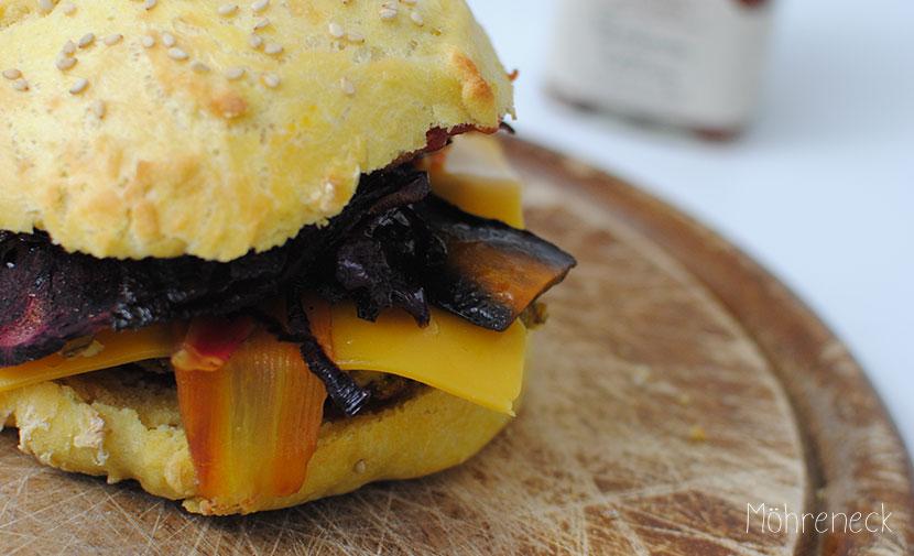 dicke Bohnen Burger mit Ofengemüse