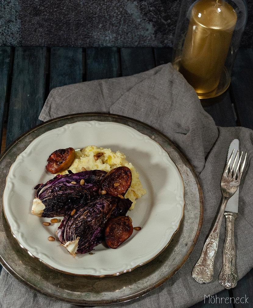 Gebratener Radicchio mit Feigen und Kartoffel-Sellerie-Püree