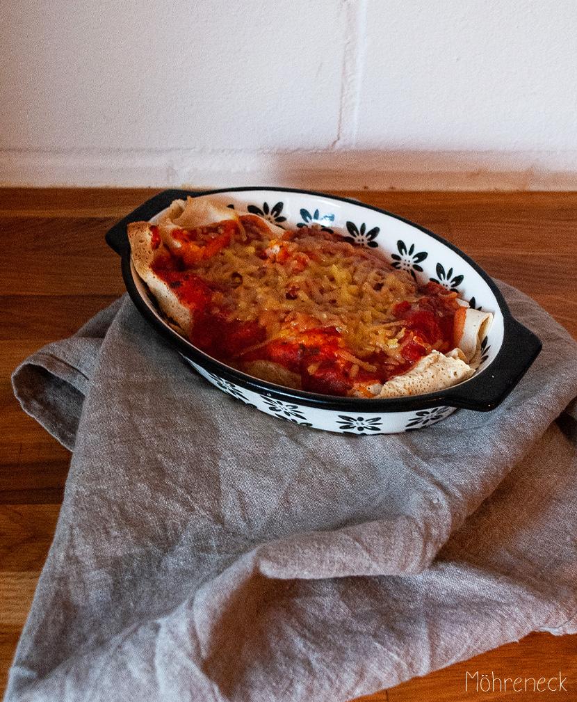 Crêpe mit Spinat und Feto