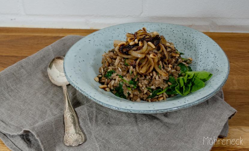 Linsen-Reis mit Röstzwiebeln