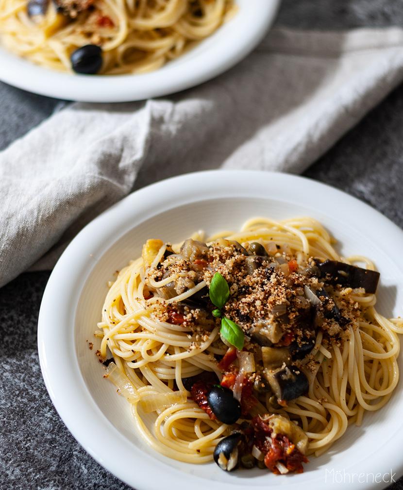 Spaghetti mit Aubergine