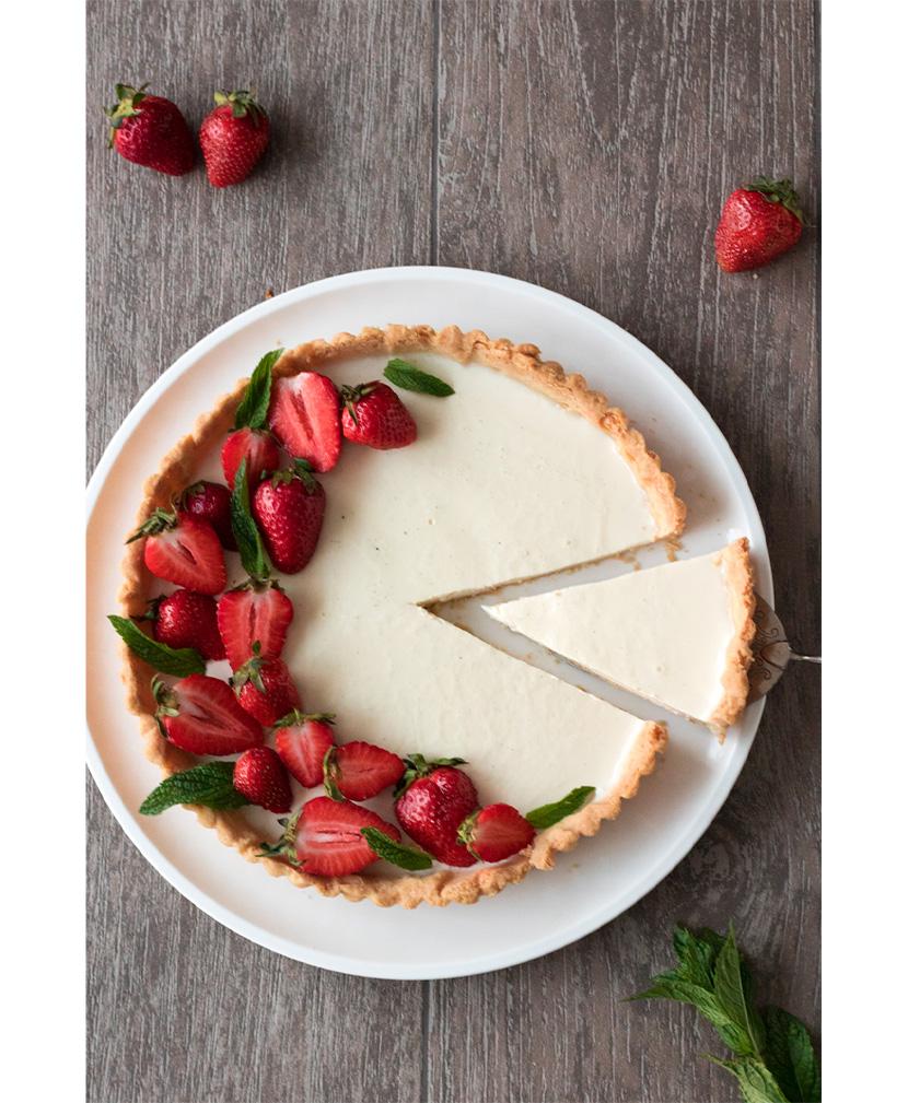 Panna-Cotta-Tarte mit Erdbeeren von heutegibtes