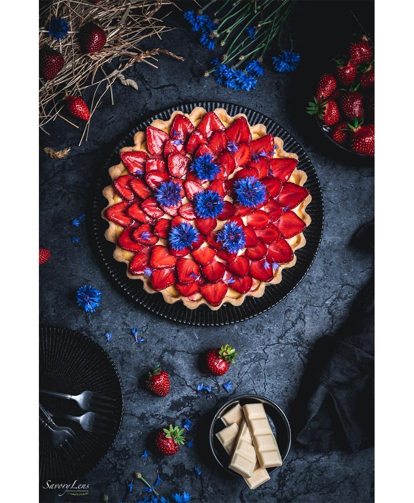 Erdbeer-Tarte mit weißer Schokolade von SavoryLens